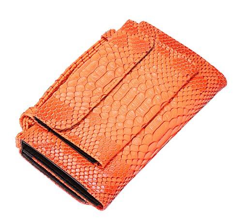 Womens Clutch with Handbag Wallet Genuine Orange Tote Purse Snakeskin Crossbody Leather Chain rxrFqwHp