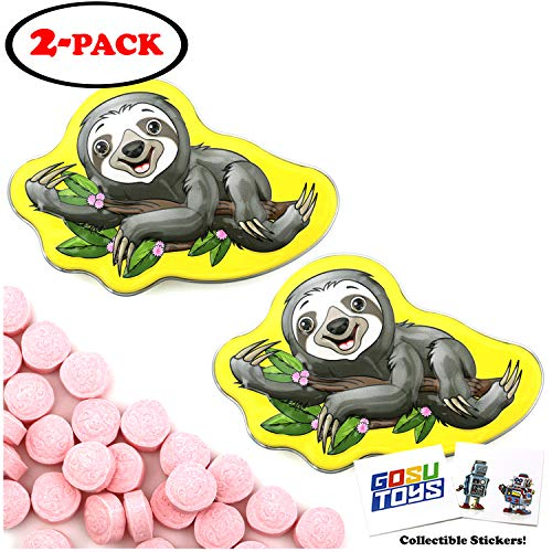 Sloth is My Spirit Animal Tin Candy (2 Pack) Strawberry Flavor Sours Gift Stuffer with 2 GosuToys Stickers (Sloth Candy Shaped)