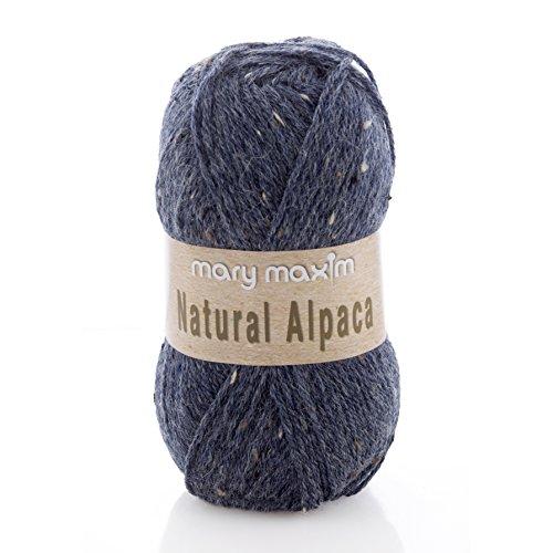 "Mary Maxim Natural Alpaca Tweed Yarn ""Blue Stone"" | 4 Medium Worsted Weight Yarn for Knit & Crochet Projects | 77% Acrylic, 20% Alpaca, 3% Viscose| 4 Ply - 262 -"