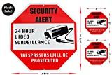 Video Surveillance Security Signs Bundle Includes 1 Outdoor Aluminum Security Sign & 2 Vinyl Decals. Perfect for Home, Yard and Business