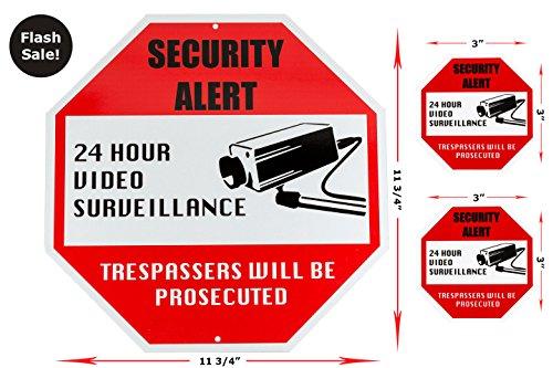 New Video Surveillance Security Sign Bundle Includes 1 Outdoor Aluminum Security Sign For Home Business Industrial   2 Smaller Indoor Outdoor Vinyl Decals