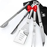 Kona Grill Tools Set - Premium BBQ Stainless-Steel Spatula, Tongs, Fork, Knife ~ With Buit-In Bottle Openers And Barbecue Gifts Case