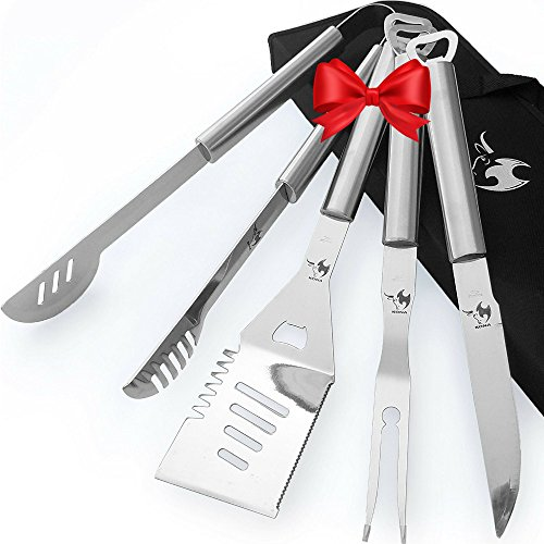 Kona Best Grill Set   Bbq Gift Grill Tools Set   Long 18  Grill Accessories  Spatula  Tongs  Fork  Knife   Bottle Opener Handles   Case Included