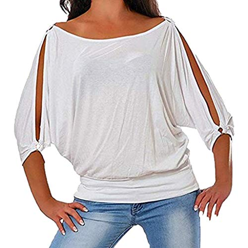 T-Shirt for Women,Keepfit Ladies Loose Fit Openwork Half Sleeve Tightly Hem Tops Blouse(White,US 16)