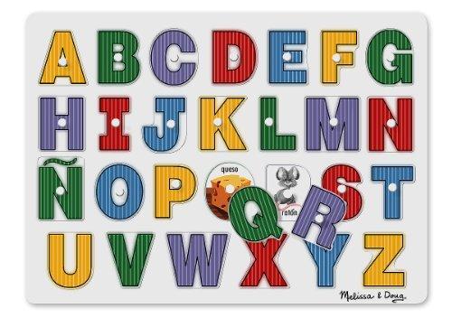 Melissa & Doug See-Inside Spanish Alphabet Wooden Peg Puzzle (27 pcs) by Melissa & Doug