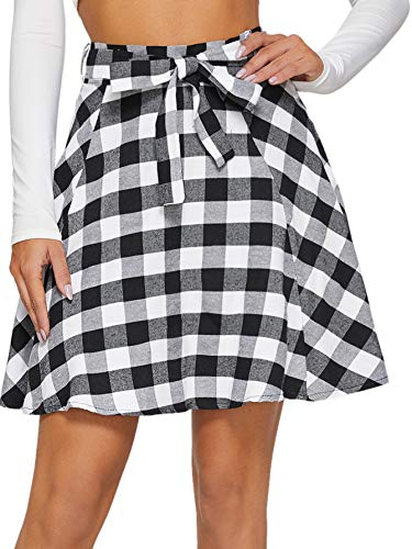 Milumia Women High Waist Business Casual Mini Over Knee A Line Pleated Skater Skirts with Belt