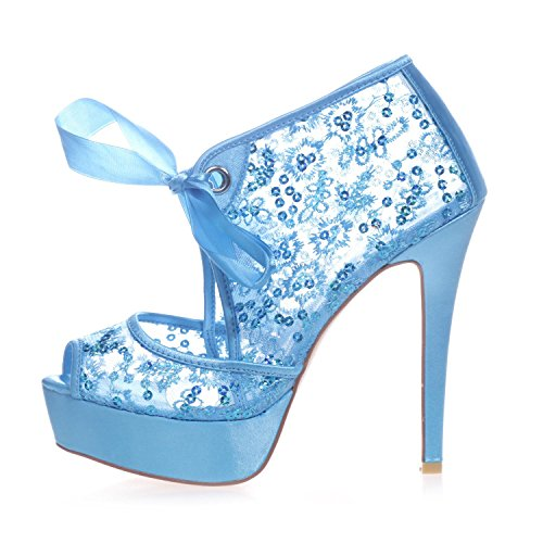 Wedding Women'S Pump Platform Court 3128 Peeking Lace Shoes Blue YC L High Heels Lace Toe 34 4wOU4HnqR