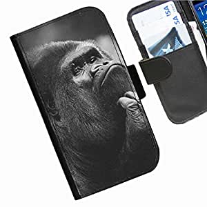 Hairyworm - Animals Iphone 4, 4s leather side flip wallet cell phone case, cover