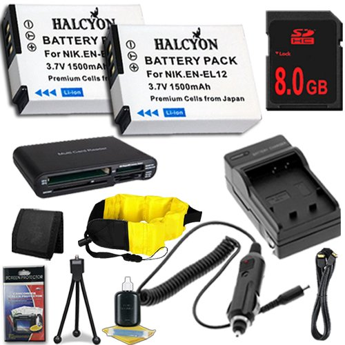 TWO Nikon COOLPIX AW100 16 MP CMOS Waterproof Digital Camera EN-EL12 Lithium Ion Replacement Batteries w/Charger + HDMI + 8GB SDHC Memory Card + Memory Card Reader/Wallet + Deluxe Starter Kit and Waterproof Floating Strap DavisMAX Accessory ENEL12 Bundle