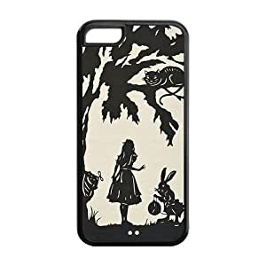 iPhone 5C Case, iPhone 5C Alice in Wonderland cases- TPU Soft Protective Case With Screen Protector for Apple iPhone 5C (Black/white)