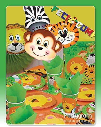 Partygram Set de Fiesta y decoraci/ón vajilla Feliz cumplea/ños Selva