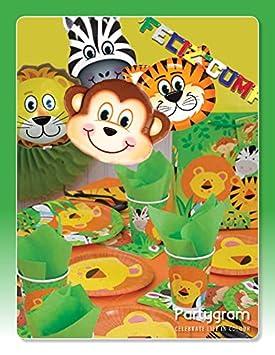 Partygram Set de Fiesta y decoración vajilla Feliz cumpleaños Selva
