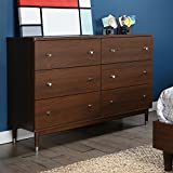 South Shore Olly Mid-Century Modern 6 Drawer Double Dresser, Brown Walnut