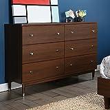 lovely modern bedroom dresser South Shore 3828027 Olly Mid-Century Modern 6 Drawer Double Dresser, Brown Walnut