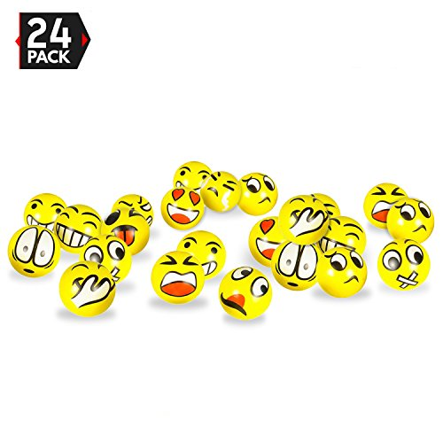 3 Party Pack Emoji Stress Balls - Stress Reliever Party Favors, Toy Balls, Party Toys (24 Pack)