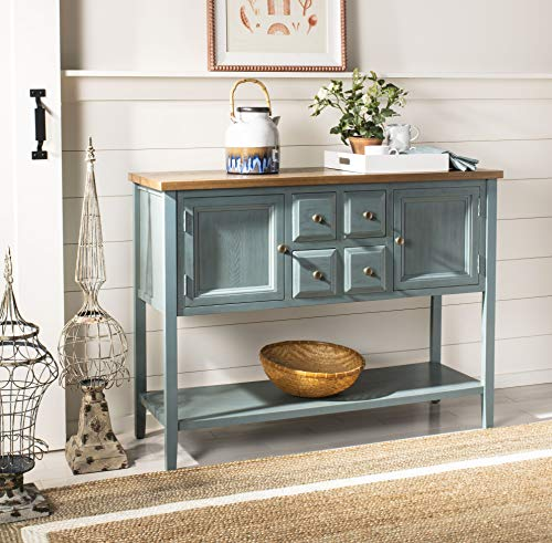 Buffet Side Server - Safavieh American Homes Collection Charlotte Distressed Light Blue Sideboard