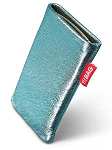 fitBAG Groove Turquesa - Funda a medida, Exterior de cuero genuino, con forro interno de microfibra, para E-Ten Glofiish M800