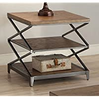 ACME Furniture 80446 Fabio End Table, Oak & Antique Black