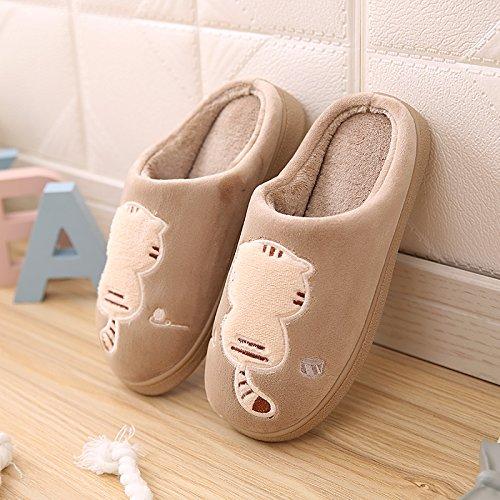 Y-Hui in autunno e in inverno e inverno gli amanti del caldo Home Fondo spesso in borsa con cotone pantofole,42-43 metri / Uomini soldi,kaki