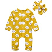 Newborn Baby Girl Floral Printed Romper Outfits Summer Autumn Long sleeve Bodysuit (70(0-3M), Yellow)