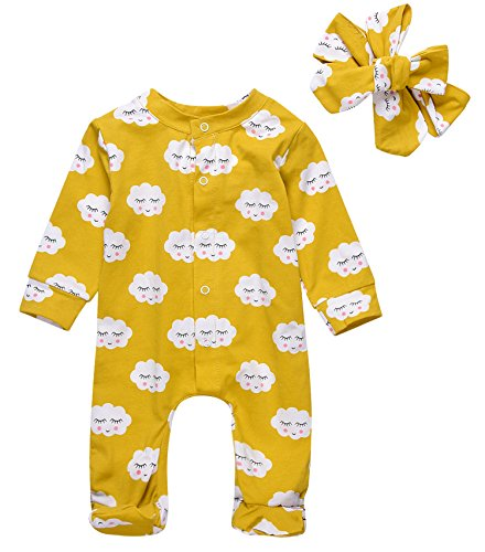 Newborn Baby Girl Floral Printed Romper Outfits Summer Autumn Long sleeve Bodysuit (80(3-6M), Yellow)