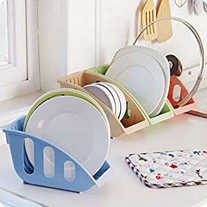 Home Kitchen Functional Plastic Dish Drying Rack and Dish Drainer Storage,Set of 4