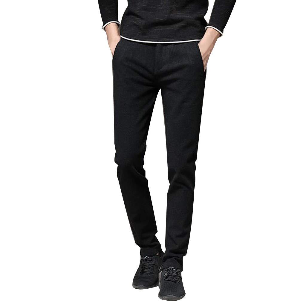 08fbfc8e5410 Plus Size Men Solid Denim Cotton Straight Pocket Elastic Trousers  Distressed Slim fit Jeans Pants Pencil Pants at Amazon Men s Clothing store