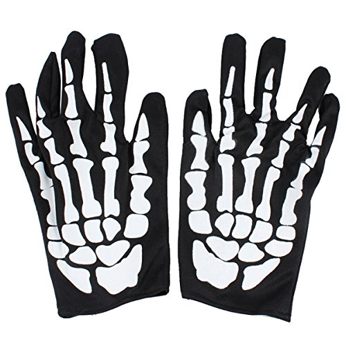 AOVEI Full Finger Halloween Costumes Cosplay Gloves Ghost Skull Bone Skeleton Gloves