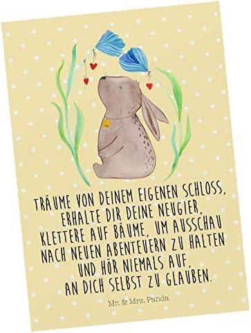 Mr. & Mrs. Panda Karte, Grußkarte, Postkarte Hase Blume mit Spruch - Farbe Gelb Pastell