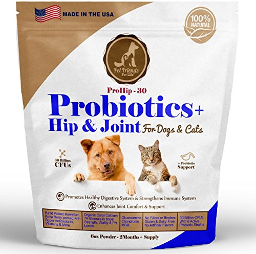 Best Probiotics + Hip and Joint for Dogs & Cats  - 2+ MONTHS SUPPLY - Relief Diarrhea, Constipation, Joint Pain, Arthritis, Skin Allergies, Cramping, Gas, Itching. Best Chondroitin, Glucosamine & MSM
