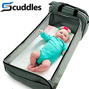 Scuddles 3-1 Portable Bassinet for Baby – Foldable Baby Bed – Travel Bassinet Functions As Diaper Bag And Changing Station – Easy Folding For Travel