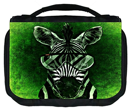 Zebra In Aviators Rosie Parker Inc. TM Small Hanging Toiletry Case with 3 Compartments and Detachable Hanger (Aviator Traveler Case)