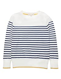 Mini Phoebee Unisex Children Classic Striped Round Neck Cotton Pullover Sweater