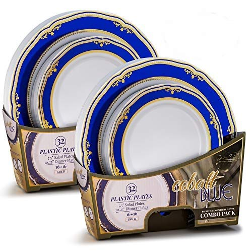 Laura Stein Designer Tableware Set of 64 White Party Plates With Blue & Gold Border/Rim Cobalt Blue Series Includes 32-7.5'' Plates & 32-10.75'' Plates Heavy Duty Plastic Disposable Dishes ()