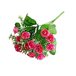 dezirZJjx Artificial Flowers 1 Pc/13 Buds Artificial Rose Flowers Grass Wedding Party Office Home Decoration - Rose Red 102