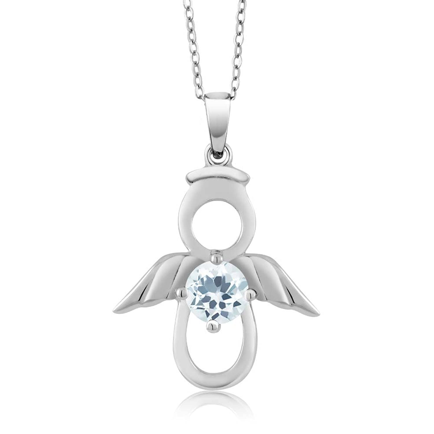 Sky Blue Aquamarine Angel Pendant Set in 925 Sterling Silver Gemstone Birthstone with 18 Inch Silver Chain (0.40 cttw)