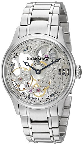 Thomas Earnshaw Men's Bauer MACHANICAL Skeleton Mechanical-Hand-Wind Watch with Stainless-Steel Strap, Silver, 21 (Model: ES-8049-11