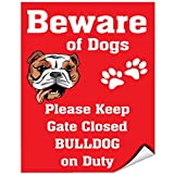 Beware Of Bulldog Dog On Duty Vinyl LABEL DECAL STICKER 9 inches x 12 inches