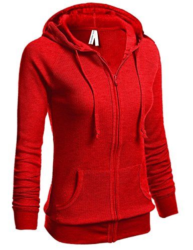 TOP LEGGING TL Women's Knit Stretch Zipper Solid Casual Zip-Up Hoodie Jackets in Colors THERMAL35_Red L