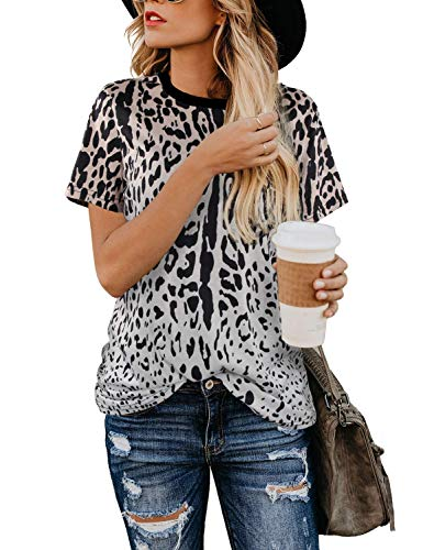 Youdiao Women's Casual Leopard Print Tops Summer Cute Shirts Basic Short Sleeve Tees Blouse Leopard3 XL