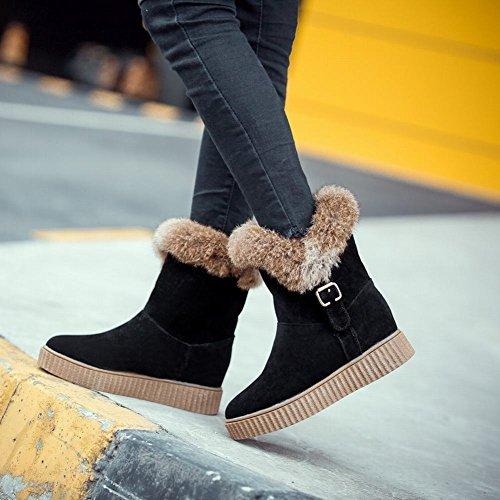 Latasa Womens Faux Fur Cold Weather Short Winter Snow Boots Black 5V06qyN