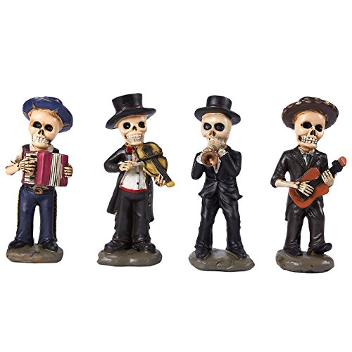 Juvale 4-Piece Skeleton Figurines - Skull Mariachi Band, for Day of the Dead, 2.2 x 5.5 x 1.3 Inches