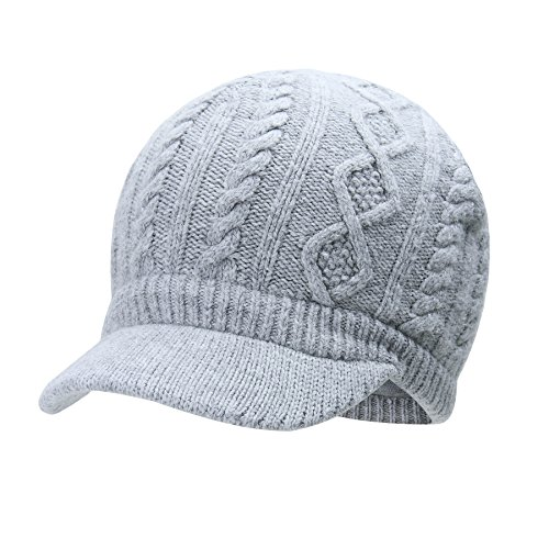 (Vivobiniya Kids Winter Knit Visor Hat Baby Girl Knitted Beanie Cap, Gray, 3-6years old(Head circumference19.6in-20.4in))