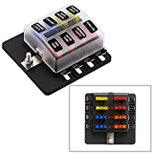 Blade Fuse Block 8 Way Fuse Box Holder with LED Light for Automotive Car Boat Marine SUV