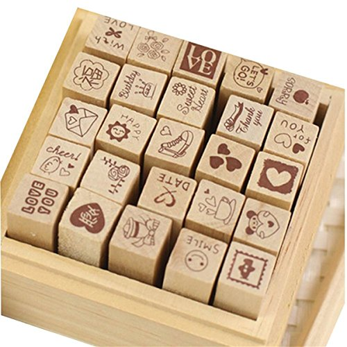 Yansanido 25pcs Mini Cute DIY Diary Wooden Rubber Stamp Set with Wooden Box (25pcs LOVE style)