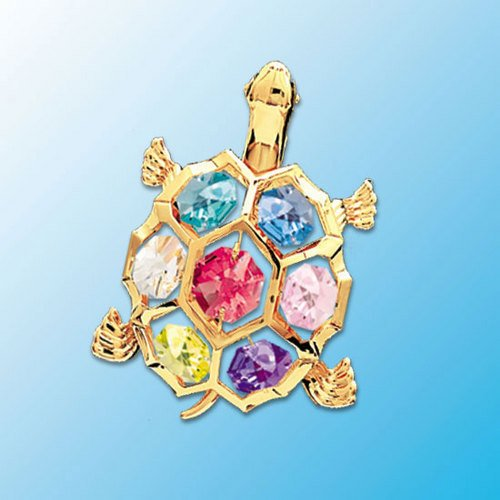 Swarovski Crystal Desk Accessories - 24K Gold Plated Turtle Figurine with Crystal from Swarovski Comes with Magnant and Suction Cup for Fridge Door or Window Decor BEST GIFT for Father's Day House Warming Collectable Desk Accessory
