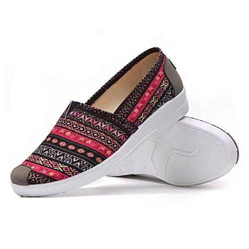 Zapatos Planos De Tela Ocasionales De Las Mujeres Antideslizantes Elásticos Cap-toe Estilo Étnico Lona 6 Rojo