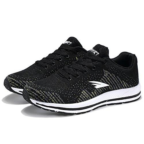 H-Mastery Zapatos Deportivos Transpirables del Verano que Funcionan con los Zapatos Zapatillas Running Hombre Negro