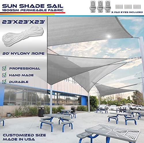 Windscreen4less Sun Shade Sail for Outdoor Patio Backyard UV Block Awning with Steel D-Rings 23ft x 23ft x 23ft Light Grey Triangle Included Free Pad Eyes Custom Size