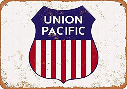 (Union Pacific Railroad Vintage Retro Metal Signs Shabby Funny Tin Sign Wall Plaque for Bar Man Cave Garage Bedroom Decor Novelty Gifts Sign)